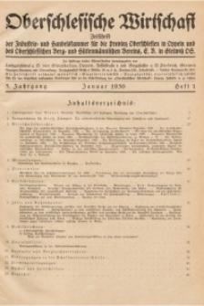 Oberschlesische Wirtschaft, 1930, Jg. 5, H. 1