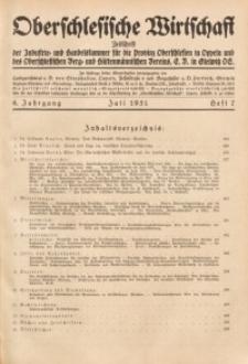 Oberschlesische Wirtschaft, 1931, Jg. 6, H. 7