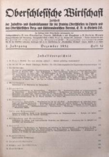 Oberschlesische Wirtschaft, 1932, Jg. 7, H. 12