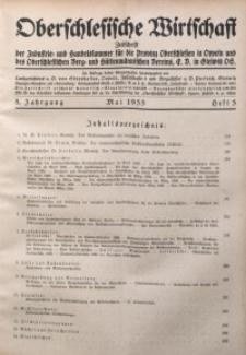 Oberschlesische Wirtschaft, 1933, Jg. 8, H. 5