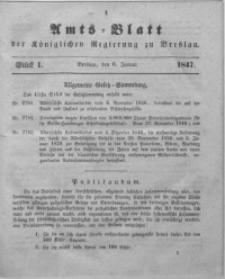 Amts-Blatt der Königlichen Regierung zu Breslau, 1847, Bd. 38, St. 1