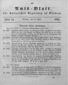 Amts-Blatt der Königlichen Regierung zu Breslau, 1847, Bd. 38, St. 15