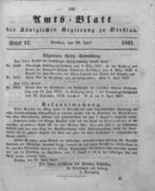 Amts-Blatt der Königlichen Regierung zu Breslau, 1847, Bd. 38, St. 17