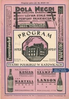 """Teatr Polski w Katowicach. 1928-1929. Program. """"Manon"""". Opera w 4 aktach. Muzyka J. Masseneta. Słowa H. Meilhaca i F. Gille'a."""