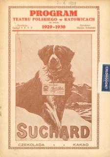 """Teatr Polski w Katowicach. 1929-1930. Program. """"Proces Mary Dugan"""". Sztuka w 3 aktach Bayarda Veillera"""