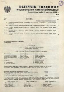Dziennik Urzędowy Województwa Częstochowskiego, 1984, nr 1