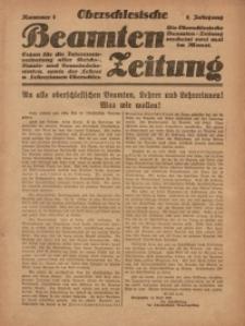 Oberschlesische Beamten Zeitung, 1920, Jg. 1, nr 1
