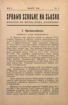 Sprawy szkolne na Śląsku, 1935, R. 1, nr 3