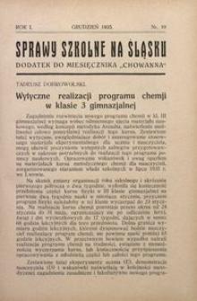 Sprawy szkolne na Śląsku, 1935, R. 1, nr 10
