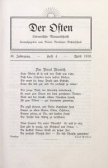 Der Osten, 1910, Jg. 36, H. 4