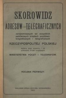Skorowidz adresów telegraficznych zarejstrowanych we wszystkich państwowych urzędach pocztowo-telegraficznych i telegraficznych Rzeczypospolitej Polskiej. R. 1