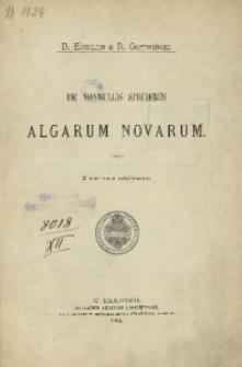 De nonnullis speciebus algarum novarum