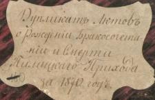 Księga urodzeń, małżeństw i zgonów Pilica 1870