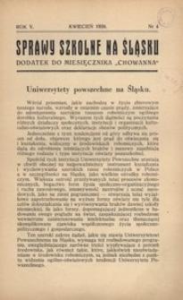 Sprawy szkolne na Śląsku, 1939, R. 5, nr 4