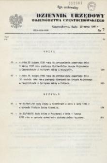 Dziennik Urzędowy Województwa Częstochowskiego, 1996, Nr 7