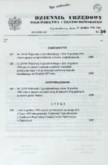 Dziennik Urzędowy Województwa Częstochowskiego, 1996, Nr 36