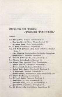 """Mitglieder der Verrins """"Breslauer Dichterschule"""""""