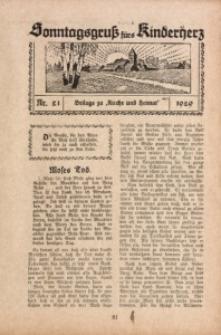 Sonntagsgruß fürs Kinderherz, 1929, Nr. 21