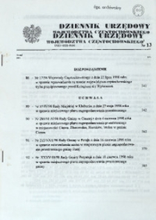 Dziennik Urzędowy Województwa Częstochowskiego, 1998, Nr 13