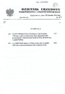 Dziennik Urzędowy Województwa Częstochowskiego, 1998, Nr 27