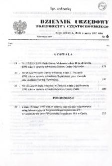 Dziennik Urzędowy Województwa Częstochowskiego, 1997, Nr 6