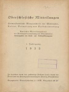 """Inhaltsverzeichnis für den Jahrgang 1935 der """"Oberschlesischen Mitteilungen"""""""