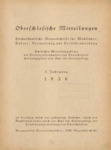 """Inhaltsverzeichnis für den Jahrgang 1936 der """"Oberschlesischen Mitteilungen"""""""