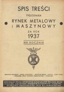 Rynek Metalowy i Maszynowy, 1937, R. 17, Spis treści