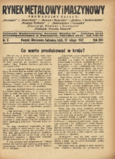 Rynek Metalowy i Maszynowy, 1937, R. 17, Nr. 9