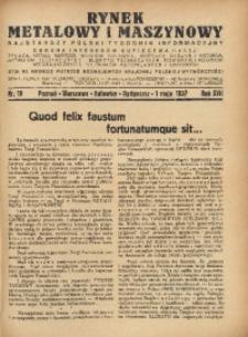 Rynek Metalowy i Maszynowy, 1937, R. 17, Nr. 18