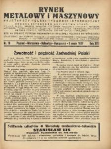 Rynek Metalowy i Maszynowy, 1937, R. 17, Nr. 19