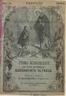 Pismo Miesięczne na cześć Przenajświętszego Sakramentu Ołtarza, 1884, nr 9