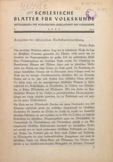 Schlesische Blätter für Volkskunde, 1939, Jg. 1, Nr. 1