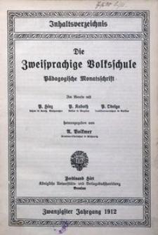 Inhaltsverzeichnis des 20. Jahrgangs (1912) der Zweisprachigen Volksschule