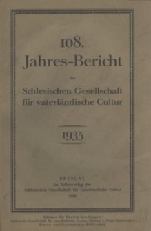 Jahres-Bericht der Schlesischen Gesellschaft für vaterlandische Cultur. 1935
