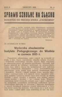 Sprawy szkolne na Śląsku, 1936, R. 2, nr 4