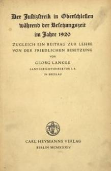 Der Justizstreik in Oberschlesien während der Besetzungszeit im Jahre 1920