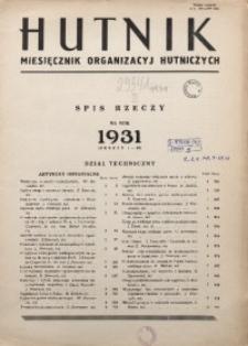 Hutnik, Spis rzeczy na rok 1931