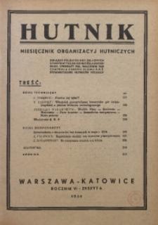 Hutnik, 1934, R. 6, z. 6
