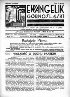 Ewangelik Górnośląski, 1935, R. 4, nr 8