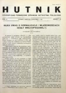 Hutnik, 1937, R. 9, z. 10