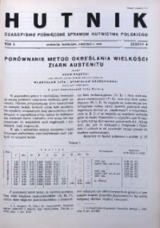Hutnik, 1938, R. 10, z. 4