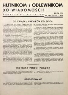 Hutnikom i Odlewnikom do Wiadomości! 1937, Nr. 36