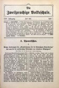 Die Zweisprachige Volksschule, 1914, Jg. 22, H. 7