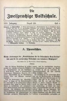 Die Zweisprachige Volksschule, 1914, Jg. 22, H. 8