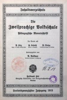 Inhaltsverzeichnis des 23. Jahrgangs (1915) der Zweisprachigen Volksschule