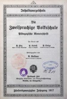 Inhaltsverzeichnis des 25. Jahrgangs (1917) der Zweisprachigen Volksschule