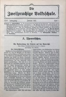 Die Zweisprachige Volksschule, 1917, Jg. 25, H. 1