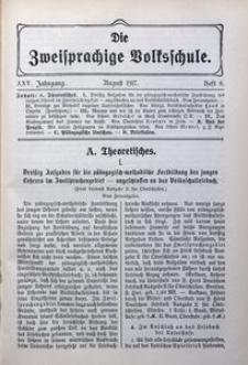 Die Zweisprachige Volksschule, 1917, Jg. 25, H. 8