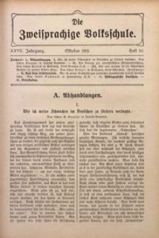 Die Zweisprachige Volksschule, 1919, Jg. 27, H. 10
